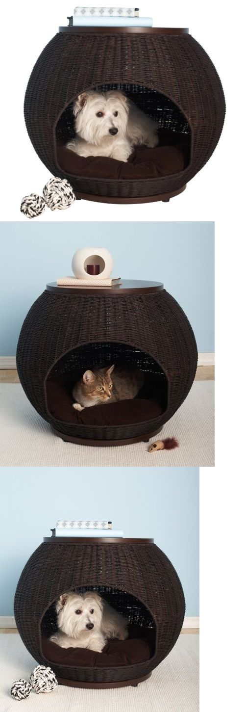 Animals Dog: Igloo Dog House Pet Bed Cat Furniture Condo Small Kennel Faux Rattan Side Table BUY IT NOW ONLY: $164.88