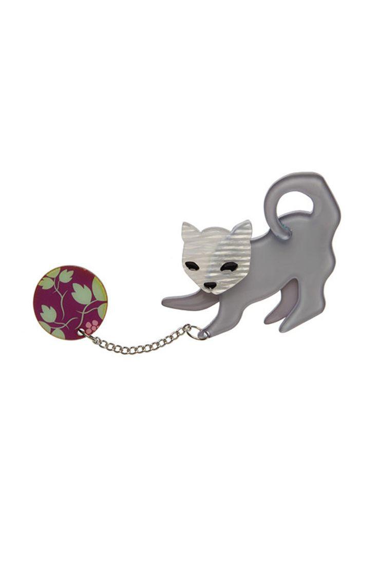 Kitty Cat Stratch Brooch By Erstwilder