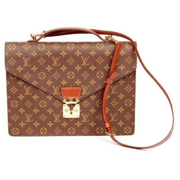 Pre-Owned Louis Vuitton Monogram Canvas Port Document Briefcase With... ($1,099) ❤ liked on Polyvore featuring bags, briefcases and brown