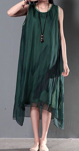 2016 New linen dresses for summer layered silk flown sundresses long casual maxi dresses tea green