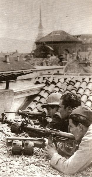 """Italian antifascist freedom fighters in Turin. WW 2. They seem to be armed with """"grease guns"""""""
