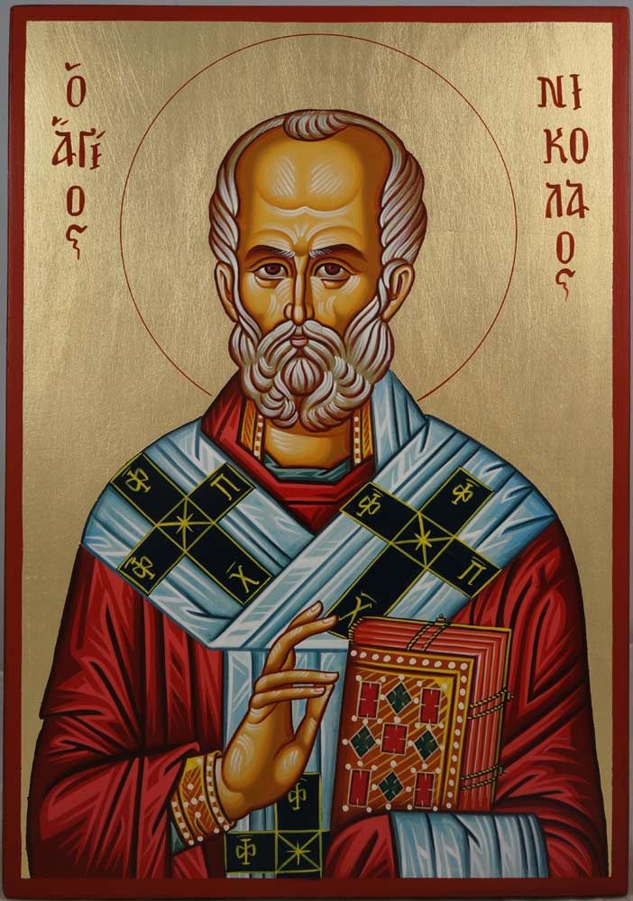 Saint Nicholas Hand-Painted Byzantine Icon on Wood