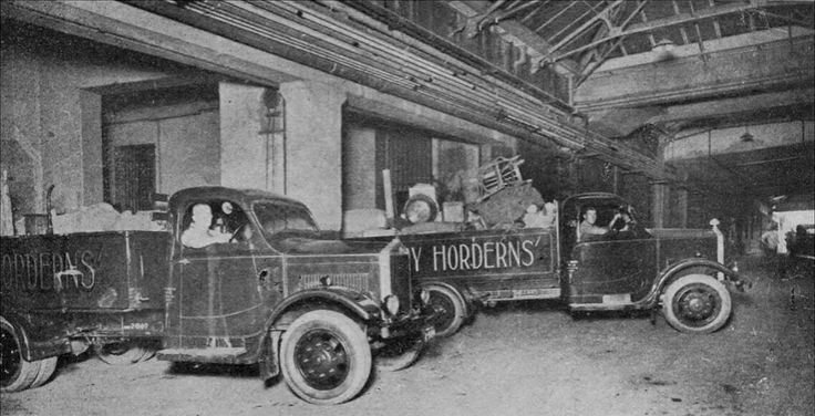 The delivery trucks of Anthony Hordern & Sons Palace Emporium at the loading docks on Swan St,Sydney,near the store.