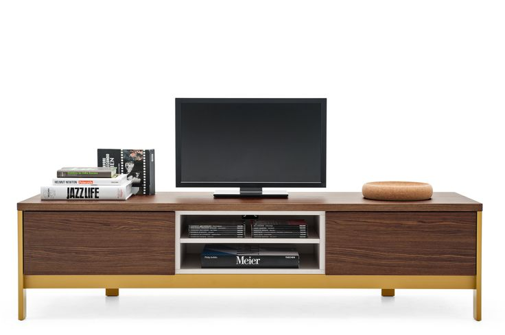 """""""Factory"""" media cabinet NEW by CALLIGARIS... Fascinating new design, this Entertainment unit is equipped with 2 side storage drawers and a double central open compartment divided by a removable melamine wood panel...The melamine finished body is framed by a varnished metal structure, whose minimum height from ground is 5""""... Dimensions: 73.25""""W x 20.5""""D x 18.75""""H... Available at POMP HOME in Culver City, CA  www.pomphome.com"""
