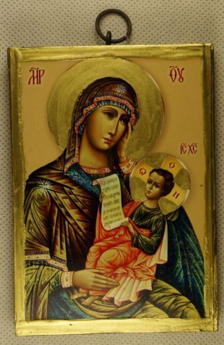Virgin Mary Theotokos Christ Russian Handpainted Eleusa Orthodox Byzantine Icon