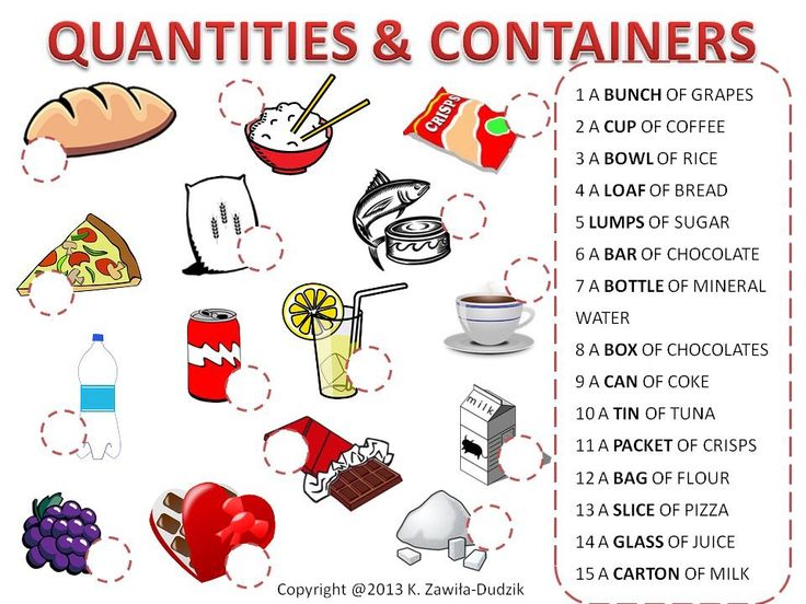 quantities and containers