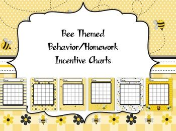 Bee themed incentive charts for classroom use. Use these to reward good behavior or for homework. When a student earns 5 in a row they are rewarded with a treat/prize. You have 6 styles to pick from. Simply print them off on a color printer on regular paper or card-stock.
