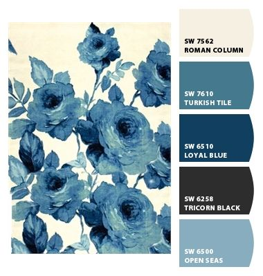 cool blues saturated sophisticated classy hues deep navy monochromatic slate grey gray darker old fashioned modern roses lady wallpaper interior exterior scheme boys room play room office den basement lake house beach house grandma fine china textiles curtains branding marketing fashion haute palette Paint colors from #Chipit! by #Sherwin-Williams