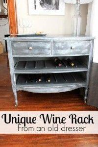 DIY Unique Wine Rack from an Old Dresser -Momo