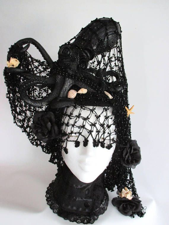 Oktopus Kopfschmuck Fascinator Schwarze Schwarz Gothik