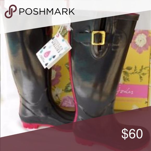 Joules Welles/Rain Boots Adorable Joules Wellies in Slate With Hot pink trim!  Perfect for stylish rainy day!  Brand new with tags...box included. Joules Shoes Winter & Rain Boots