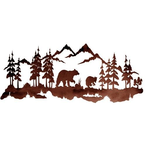 Bear Family 42'' Metal Wall Art at Rocky Mountain Cabin Decor