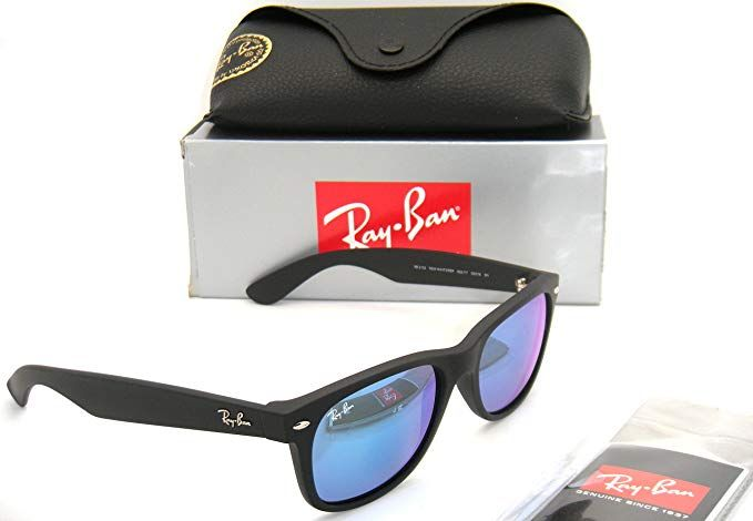 7a5cb21535 Ray-Ban New Wayfarer RB 2132 622 17 55mm Rubber Black   Blue Mirror New in  Box Review