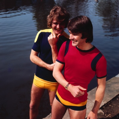 1970's Mens Swimwear.  Boy shorts have come a long way!