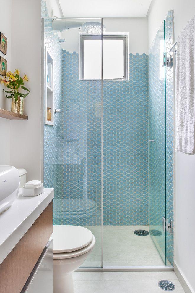 Banheiros Revestidos Simples : ?timas ideias sobre banheiro pequeno simples no