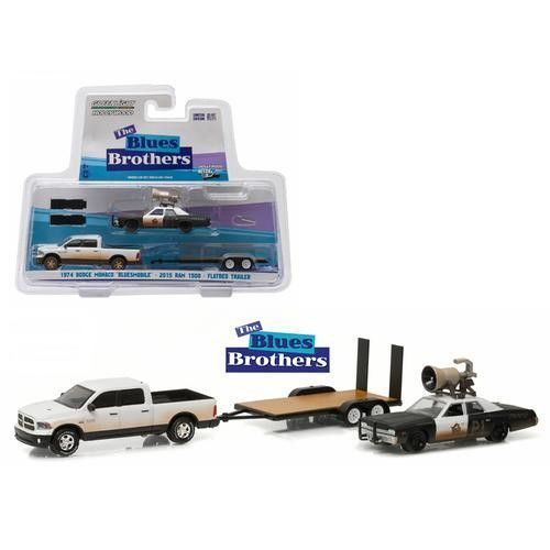 """2015 Dodge Ram and 1974 Dodge Monaco """"Bluesmobile"""" on Flatbed Trailer """"Blues Brothers"""" Movie (1980) 1/64 Diecast Model Cars by Greenlight"""