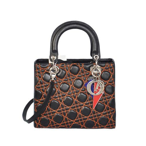 Lady Dior Handbag With Black Sheepskin Leather Siver Hardware 20674/DNADIYAKA