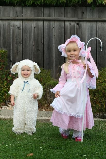 Little Bo Peep and her Sheep.  I have a photo of me in this costume when I was 4years old.  I even have a little boy sheep.  soo cute  #costume #cute #toocuteforwords