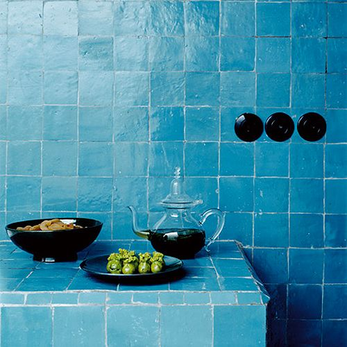 Marrakech blue tiled wall