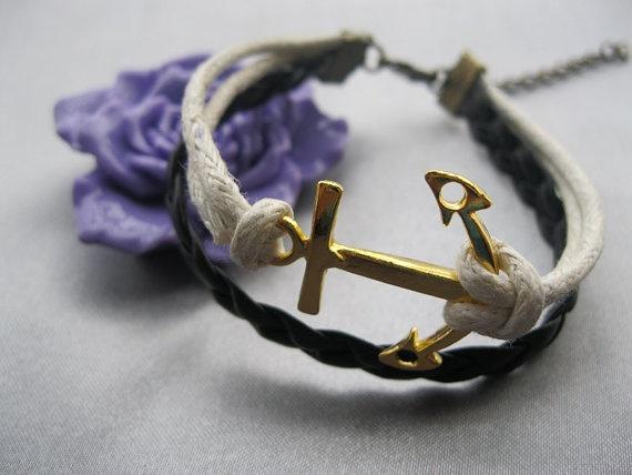 braceletgolden anchor braceletanchor braid by happynessDIY on Etsy, $4.99: Ears Candy, Braceletanchor Braids, Anchors Braceletanchor, Braceletgolden Anchors