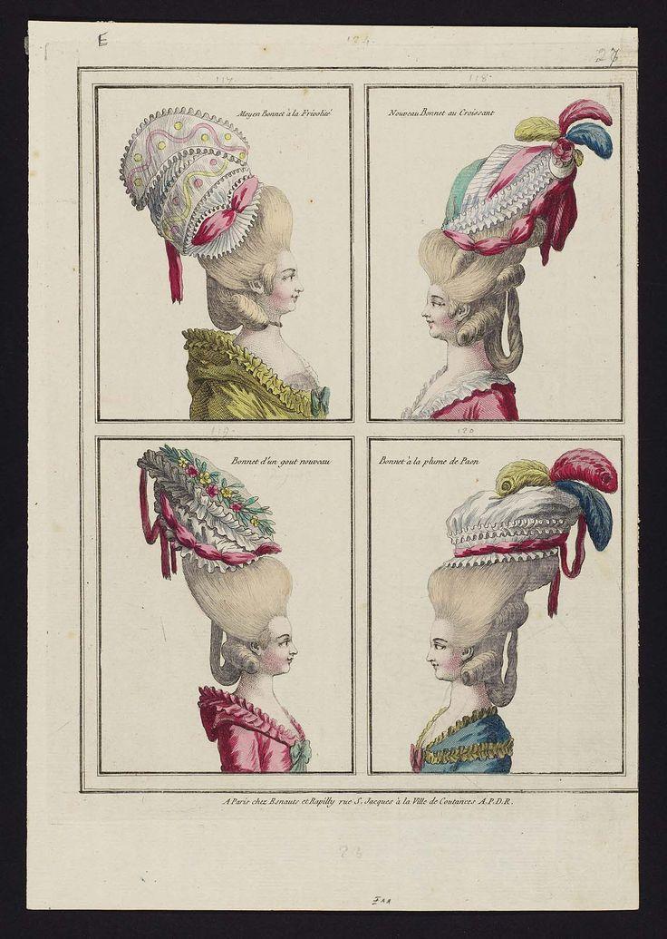 Moyen Bonnet à la Frivolité, Nouveau Bonnet au Croissant, Bonnet d'un gout nouveau, Bonnet à la plume de Paon