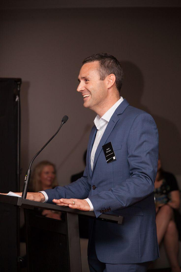 Laminex NZ's Jared Dinneen addresses the crowd