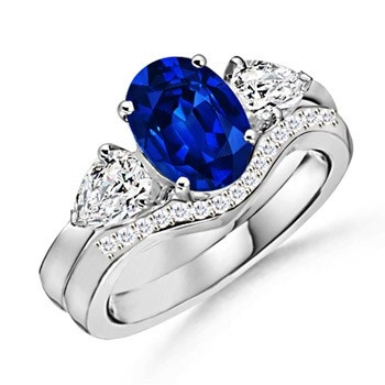 Angara Bezel-Set Sapphire and Diamond Three Stone Ring 18NN4zpQD