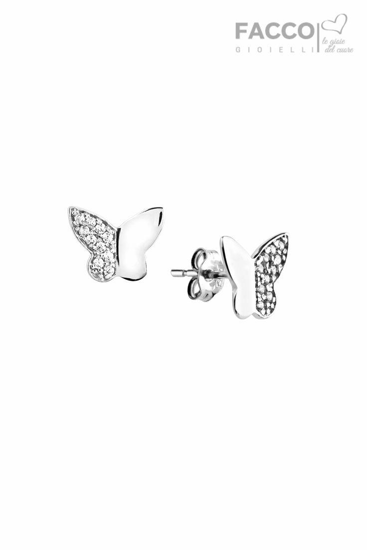 Orecchini donna, Facco Gioielli, in oro bianco 750‰, farfalla con zirconi.