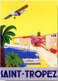 St Tropez trevel poster @ Emporium Hanoi www.emporiumhanoi.com #Vietnam #Hanoi #art #poster #France #French #vintage #retro #colorful #gorgeous
