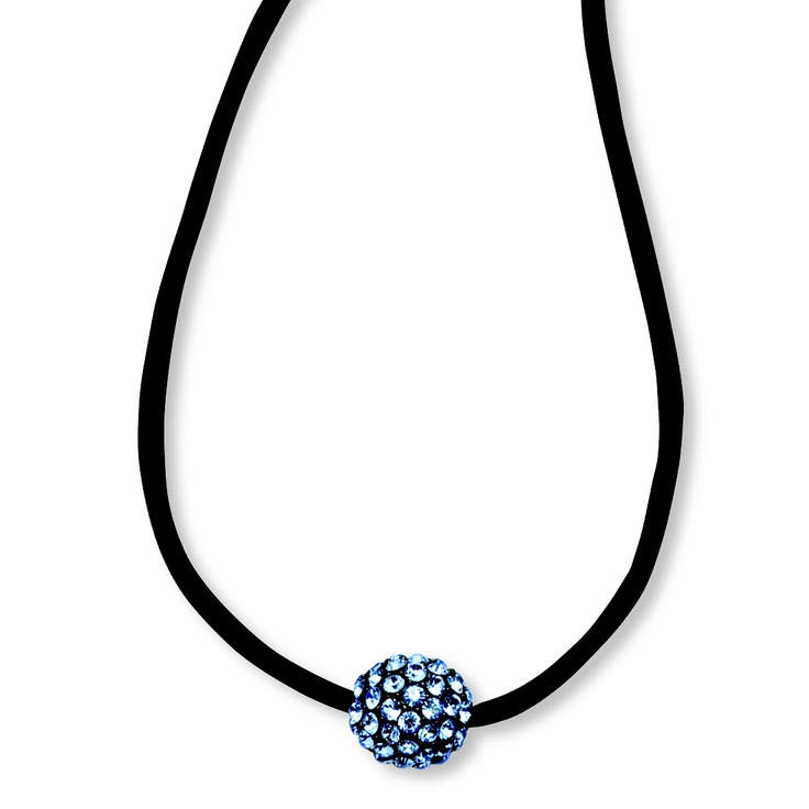 Black-plated Blue Crystal Fireball on 16 w/ext Satin Cord Necklace $25.95