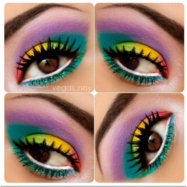 My personal favorite Colorful Rainbow Eye Makeup!