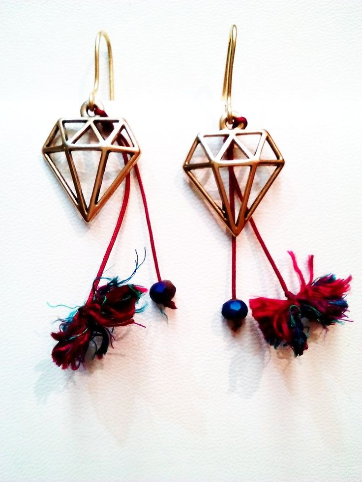 Χειροποίητο έθνικ σκουλαρίκια με ορειχάλκινο διαμαντάκι