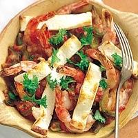 Gegrilde garnalen met tomatensaus