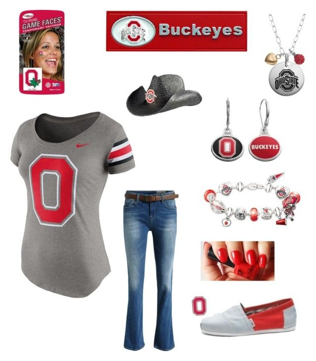 """""""Game 1 today! Go Ohio State Buckeyes"""" by im-karla-with-a-k ❤ liked on Polyvore featuring NIKE, Fiora and The Bradford Exchange"""