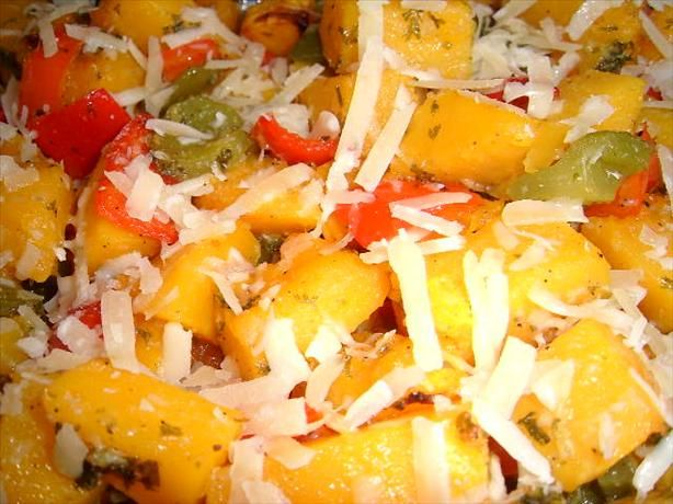 Autumn Squash & Pepper Casserole from Food.com: Wonderfully aromatic and colorful, as well as delicious and easy. I used peeled, cubed butternut squash to simplify my life.