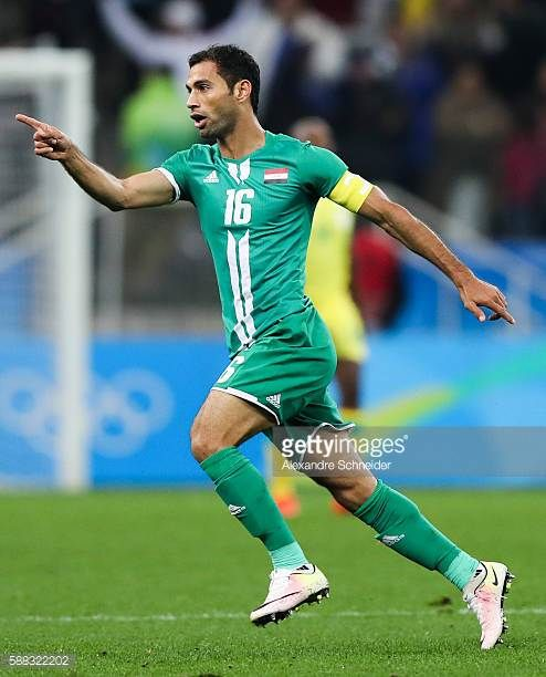 Luaibi Saad of Iraq celebrates their first goal during the match between South Africa and Iraq mens football for the Olympic Games Rio 2016 at Arena...