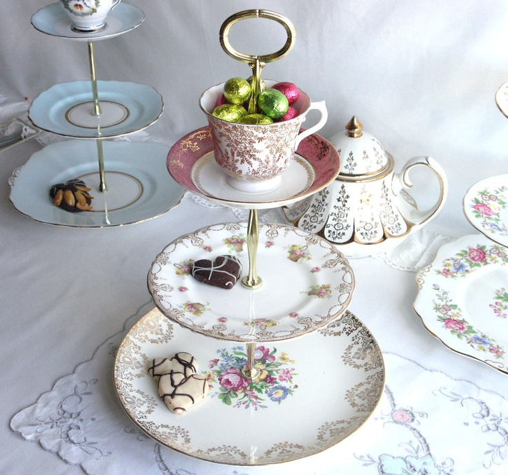 Upcycled cake stand using tea wares #upcycle