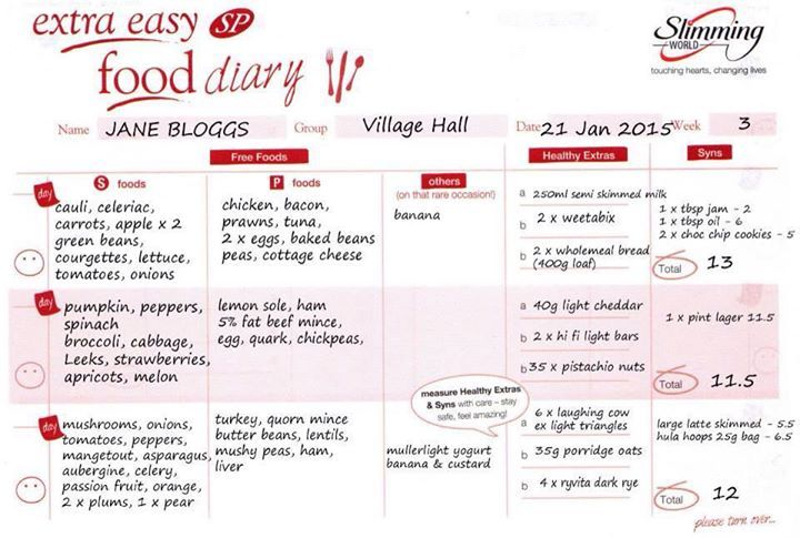 Example of Slimming World SP food diary....