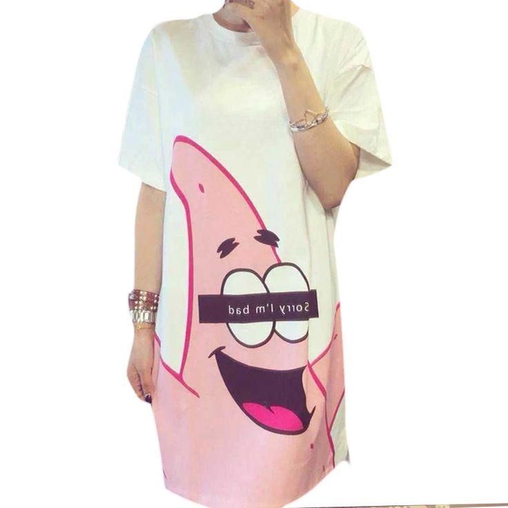 Лето новый 2016 женщин с майка мода патрик звезда Printied широкий платья футболка с коротким рукавом сладкий оптовая продажа купить на AliExpress