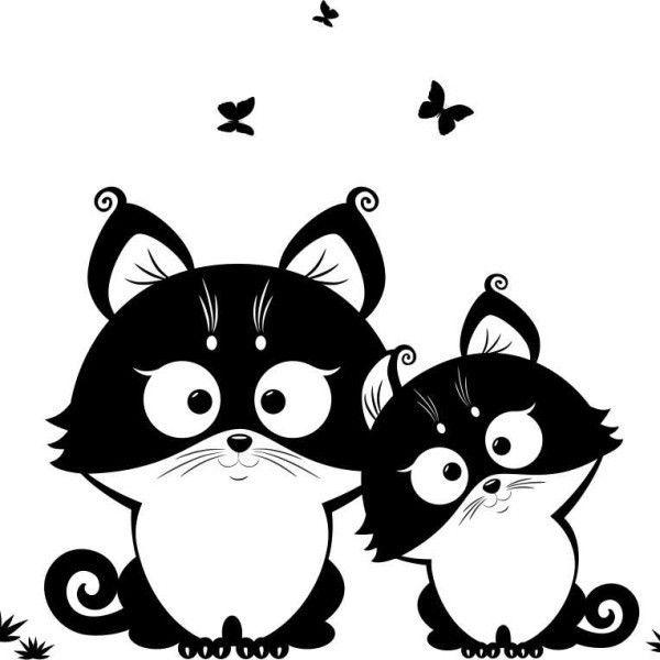 Рисунки векторные с кошкой прикольные, день дошкольного