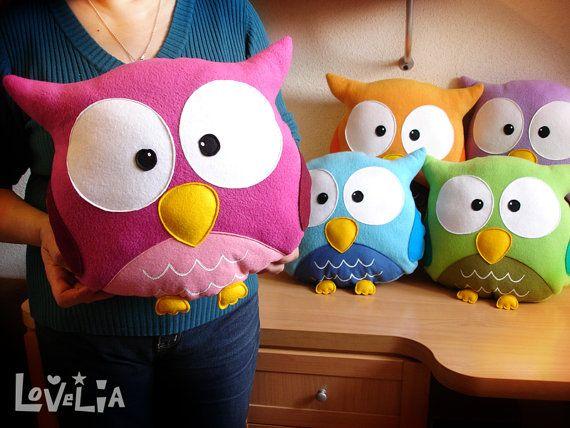 PINK OWL CUSHION RainbOWL Decorative plush pillow  by lovelia, $42.00