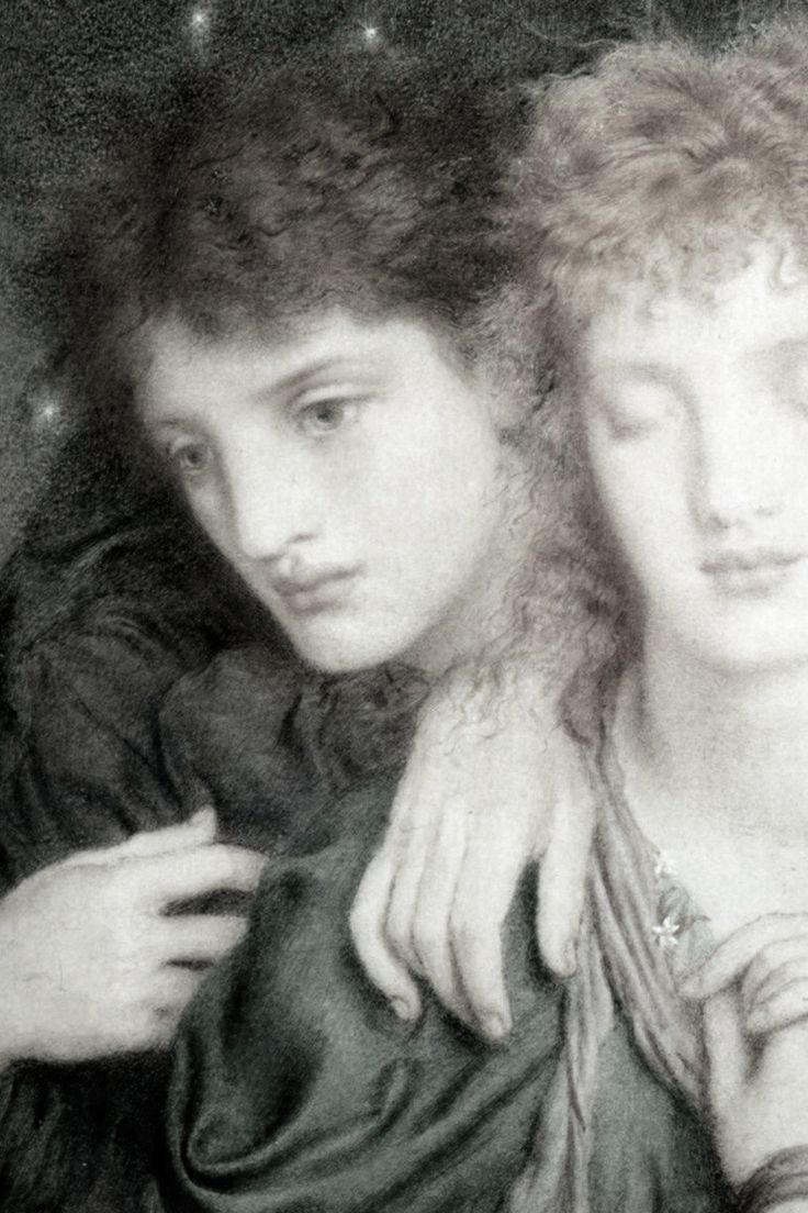 Simeon Solomon, The Sleepers and the One who Watcheth (detail), 1870