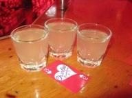 White Gummy Bear... Best ever! Strawberry vodka, peach schnapps and 7up.