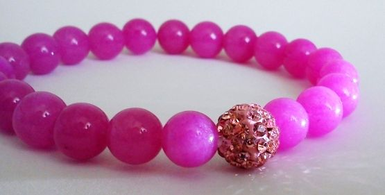 'Pink Orchid' - 8mm pink jade ball bracelet with shamballa pearl  Available: http://www.meska.hu/ProductView/index/1142848