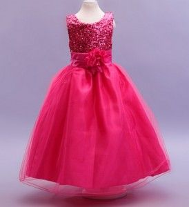 Hot Pink Sequin Flower Girl Dress  LP55