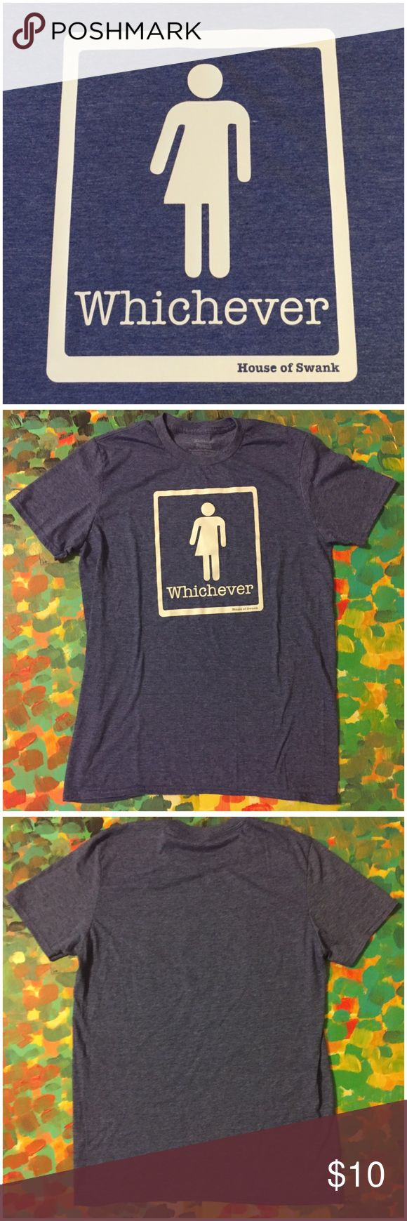 "NWOT Whichever Bathroom HB2 Law Protest Tee Shirt NWOT Whichever Bathroom HB2 Law Protest Tee Shirt by House of Swank --- Who cares what bathroom you use? --- gender neutral tee --- unisex size medium --- 65% polyester 35% cotton --- heather blue/purple, Color is the most accurate in the first picture --- preshrunk --- 20"" bust --- 28"" length --- fabric has stretch --- new without tags --- thank you for visiting my boutique, please feel free to ask any questions House of Swank Tops Tees…"
