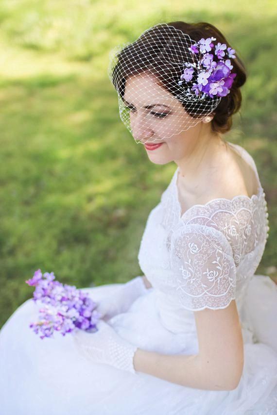 floral clip with veil, lilac flower hair piece, lilac wedding headpiece, lilac wedding decor, purple