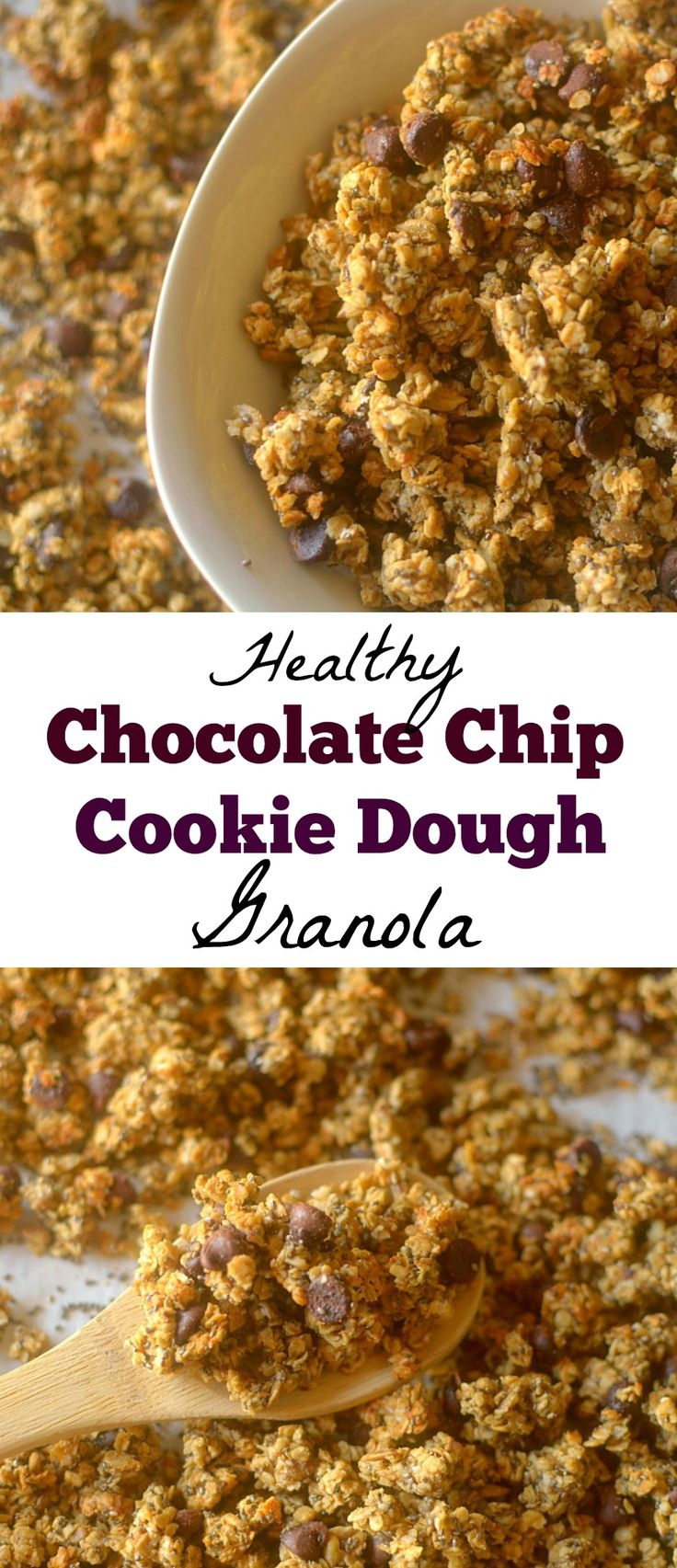 Looking for a healthy breakfast that will satisfy your sweet tooth? Make this easy-to-make Chocolate Chip Cookie Dough Granola! Gluten-free + Vegan friendly
