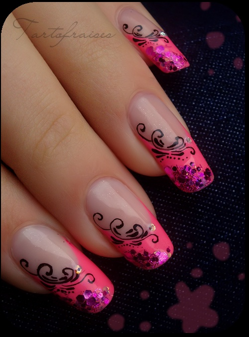 Hot Pink French Mani with Black Accents nails nailart