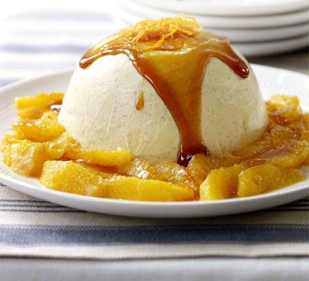 Vanilla panna cotta with caramelised orange